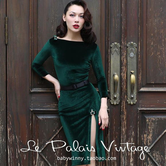 40- Vintage Women Pinup Green Velvet Pencil Dress - little-darling-fashion-online