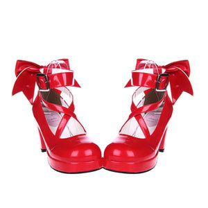 6.5cm High Heels Red Strappy Lolita Pumps by Pick a Product
