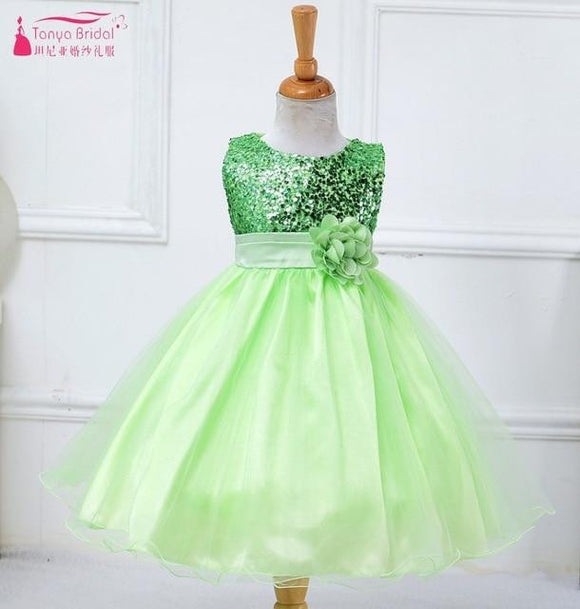 A Line Green Sequins Flower Girl Dress