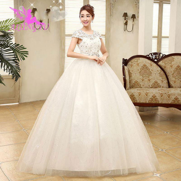 AIJINGYU 2018 real photos free shipping new hot selling cheap ball gown lace up back formal bride dresses wedding dress WK321 - little-darling-fashion-online