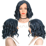 AISI HAIR Synthetic Wigs Mixed Blue and  Black for  Women Light Wavy Hair With  Bangs Curl Hairstyle