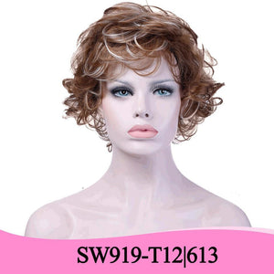 AOSI WIG Short Wavy Mix Wigs for Women Synthetic Brown Blonde Multi-color Wigs Heat Resistant Fake Hair Wig