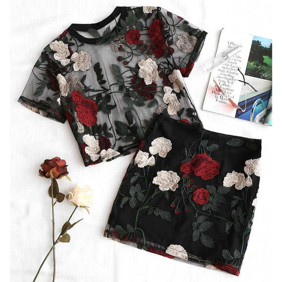 Floral Embroidered Blouse + Pencil Skirt Set - little-darling-fashion-online