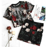 Floral Embroidered Blouse + Pencil Skirt Set by Pick a Product