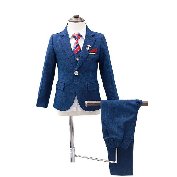 New Boys Winter 5Pcs Wedding Blazer Suit - little-darling-fashion-online
