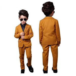 ActhInK New Kids 2Pcs Yellow Formal Wedding Suit - little-darling-fashion-online