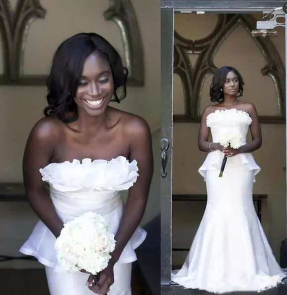 African Black Girls Wedding Dresses Mermaid