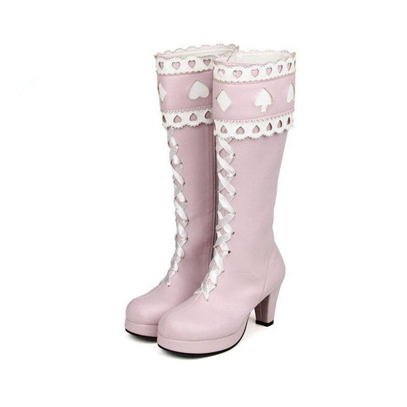 Alice in Wonderland Inspired Pink Boots 7cm Heel by Pick a Product