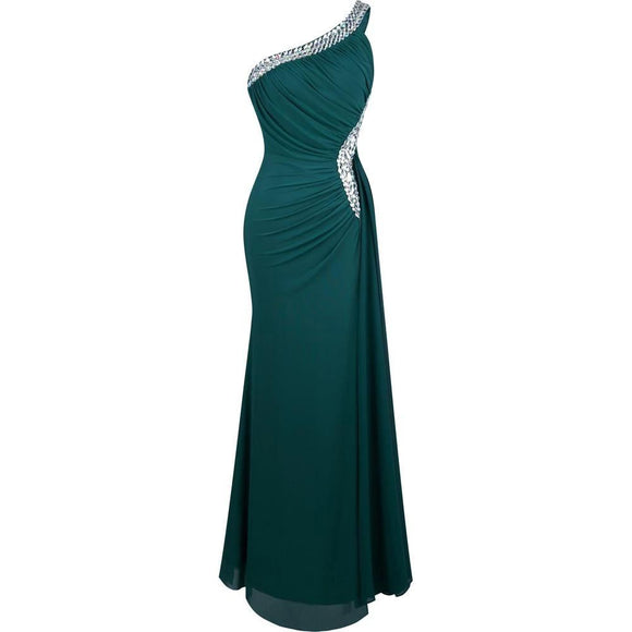 One Shoulder Slit Pleat Draped Evening Dress by Pick a Product