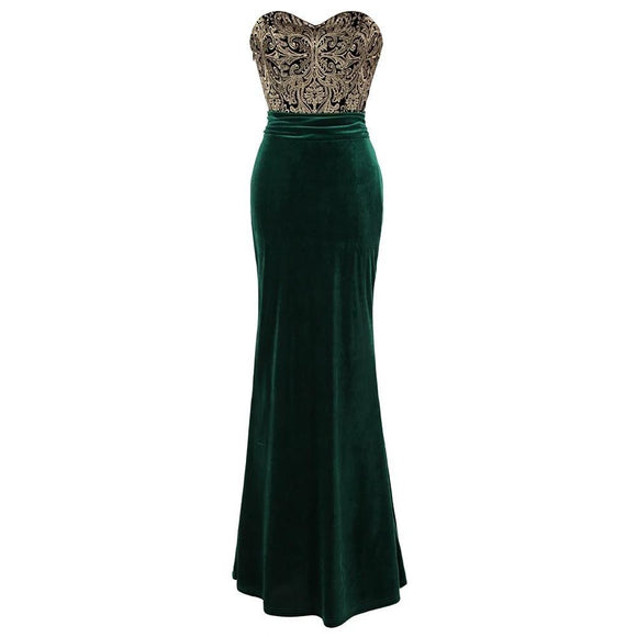 Green and Gold Ruched Velvet Mermaid Prom Dress - little-darling-fashion-online