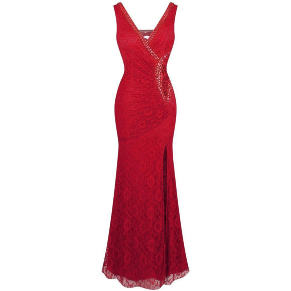 Angel-fashions Women's V Neck Evening Dress
