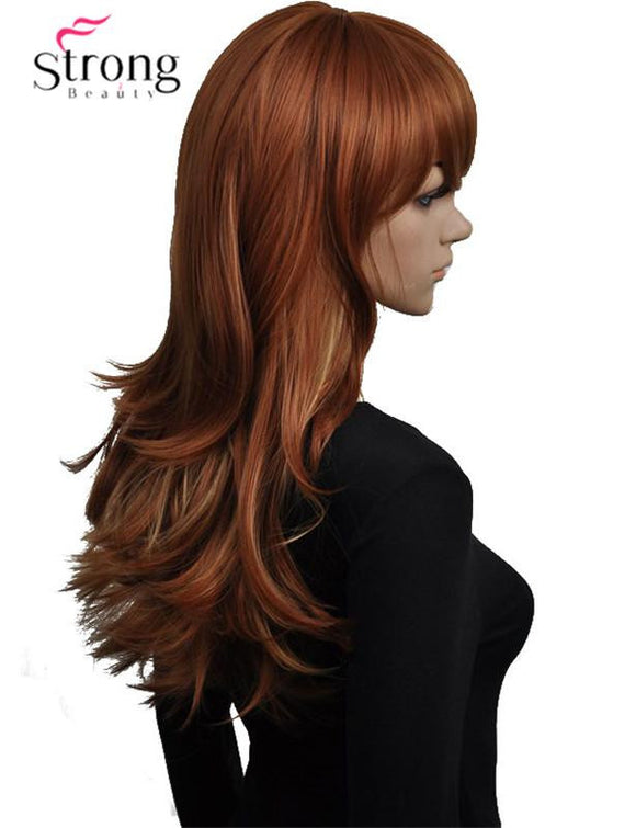 Auburn with Highlights Synthetic Wigs for Women