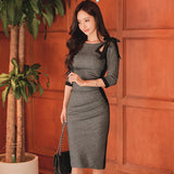 Autumn Party Grey Hollow Out Pencil Vintage Dress (S-XL)