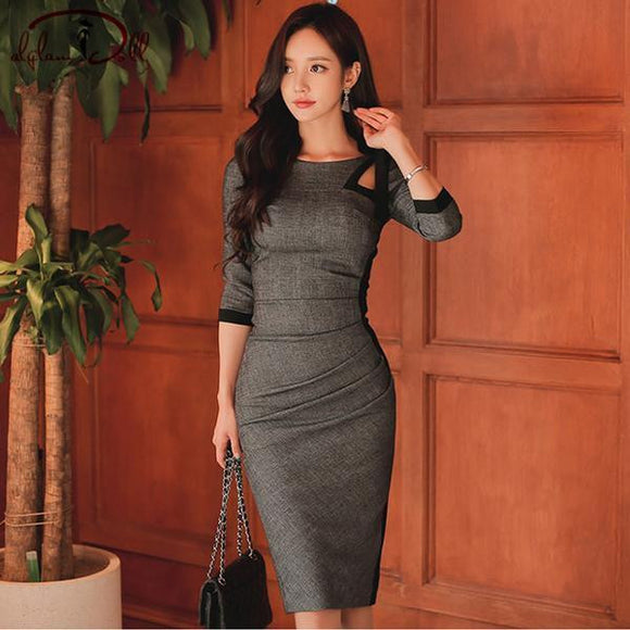 Autumn Party Grey Hollow Out Pencil Vintage Dress (S-XL) - little-darling-fashion-online