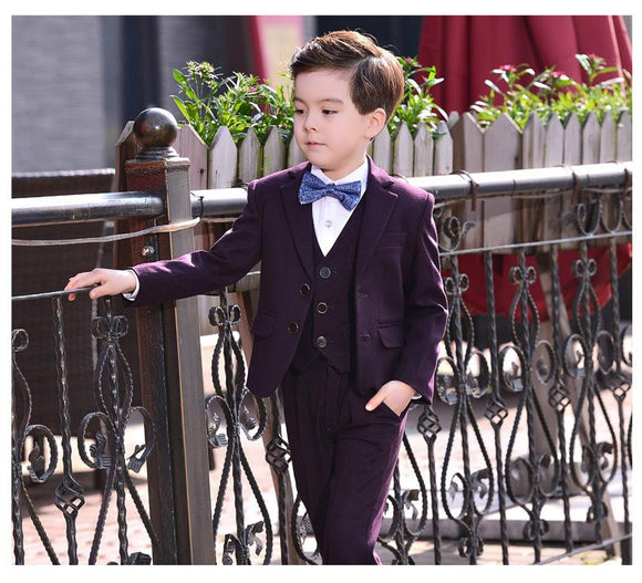 Autumn Winter Big Boys Purple Blazer Wedding Suits - little-darling-fashion-online