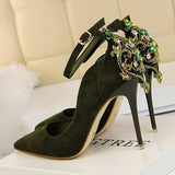 BIGTREE Elegant Crystal Pointed Toe Wedding Shoe 2018 New Women's Solid Flock Fashion Buckle Shallow High Heels Shoes for Women - little-darling-fashion-online