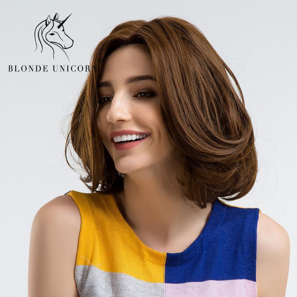 BLONDE UNICORN 10 Inch Short Wavy Heat Resistant Synthetic Wigs With Bangs Side Part Dark Brown  Full Head Capless Wig for Women - little-darling-fashion-online