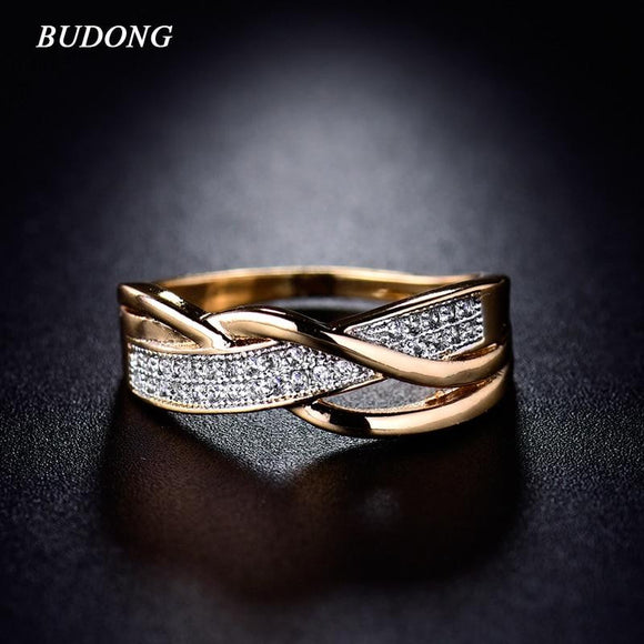BUDONG Rings for Women Spiral CZ Wedding Ring - little-darling-fashion-online
