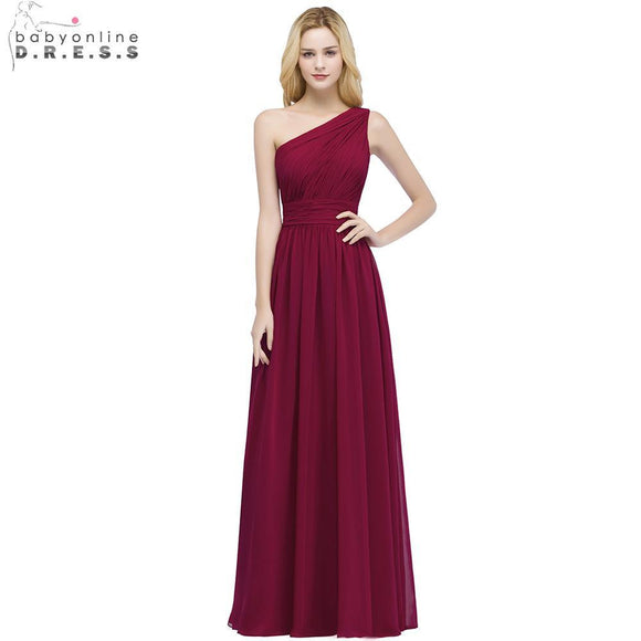 Babyonline One Shoulder Chiffon Burgundy Long Bridesmaid Dresses 2018 Ruched Wedding Party Dresses robe demoiselle d'honneur