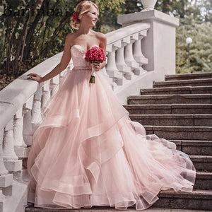 Sweetheart Blush Pink Wedding Dresses - little-darling-fashion-online