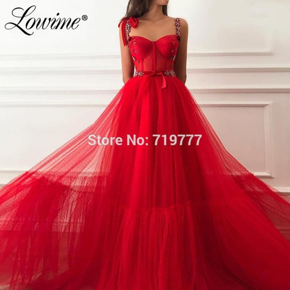 Beaded Crystals Red Party Gown Abiye 2019 - little-darling-fashion-online