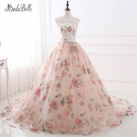 Beautiful Flower Print Floral Wedding Dresses - little-darling-fashion-online