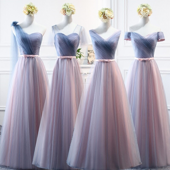 V-Neck One Shoulder Chiffon Long Bridesmaid Dresses - little-darling-fashion-online