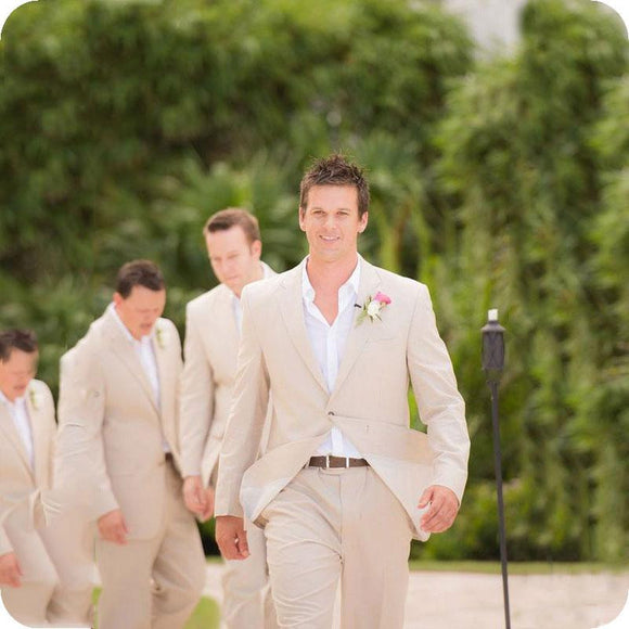 Beige Linen Men Suits 2018 Beach Wedding Suit