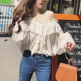 Best-selling v-neck lantern sleeve women fashion blouse loose casual sexy transparent ladies ruffles blouse top free shipping - little-darling-fashion-online