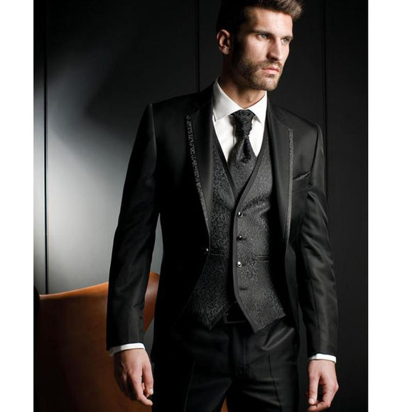 Black Harringbone Men's 3 Piece Wedding Suits by Pick a Product
