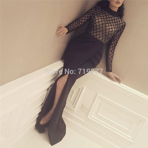 Black Heavy Beading Evening Dress - little-darling-fashion-online