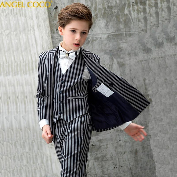 Black White Stripes Boys Suit for Weddings - little-darling-fashion-online