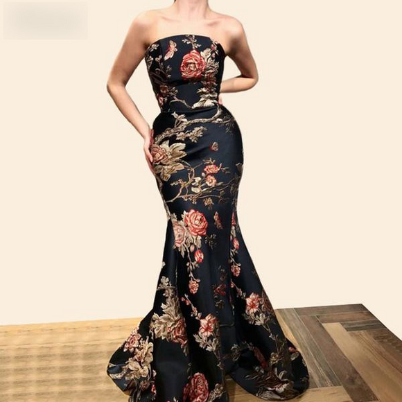 2019 Floral Print Special Mermaid Prom Dresses - little-darling-fashion-online