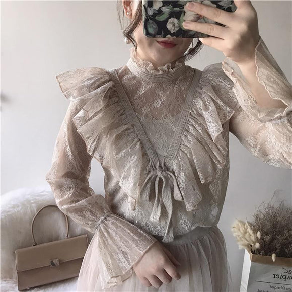 Blouse Ruffles Blusa Full Femininas 2018 Spring New Women's Lace Shirt Palace Wind Celestial Perspective Flounce Sleeves Women