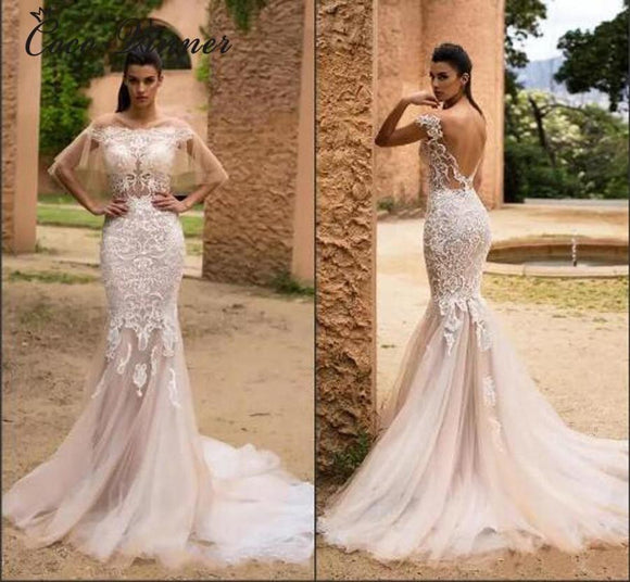 Boat Neck Backless Mid East Mermaid Wedding Dress