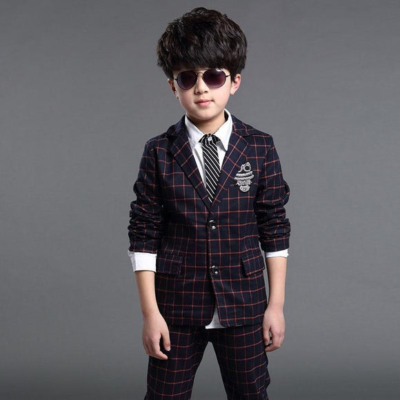 Boys Formal Suits for Weddings 2018 New Brand England Style 5-14T Man Child Plaid Formal Party Tuxedos kids Formal Suits