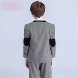 Boys Grey Formal Suits (Jacket+Pants+Vest+Shirt+Tie) - little-darling-fashion-online