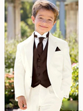 Boys (Jacket+Vest+Pants) Beige and Black Wedding Suit by PickAProduct