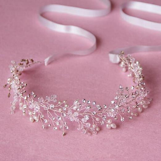 Bridal Headpiece Silver Crown Crystal Pearl Headband