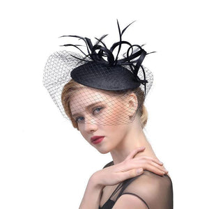 Bridal Net Feather Hats White Red Black Birdcage Net Wedding Hats Bridal Fascinator Face Veils Bride Hats Wedding Accessories