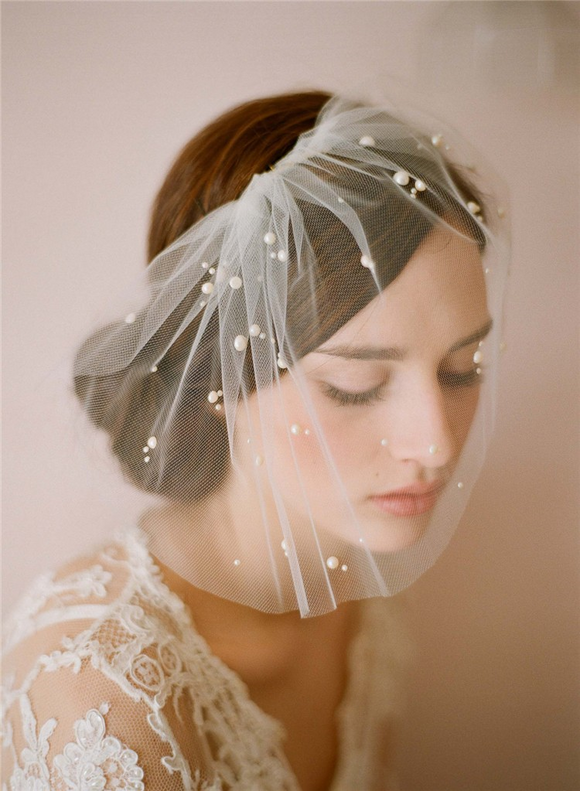 Bridal Ivory Pearls Veil with Comb by PickAProduct