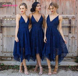 Bridesmaid Dresses New Style Elegant Tea Length Blush Pink Lace Irregular Hem V Neck Maid of Honor Country Wedding Guest Gowns - little-darling-fashion-online