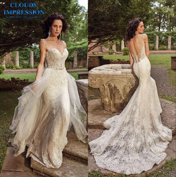 Luxury 2019 Mermaid Wedding Dress with Chapel Train
