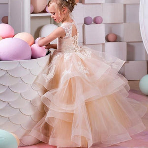 Champagne Lace Ball Gown Flower Girl Dresses