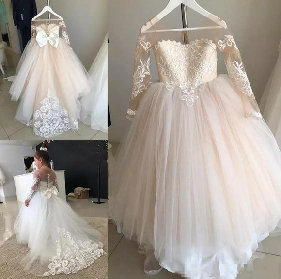 Champagne Tulle Lace Flower Girl Dress for Wedding