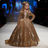 Champagne Gold Sequin Long Sleeve Flower Girl Dress by PickAProduct