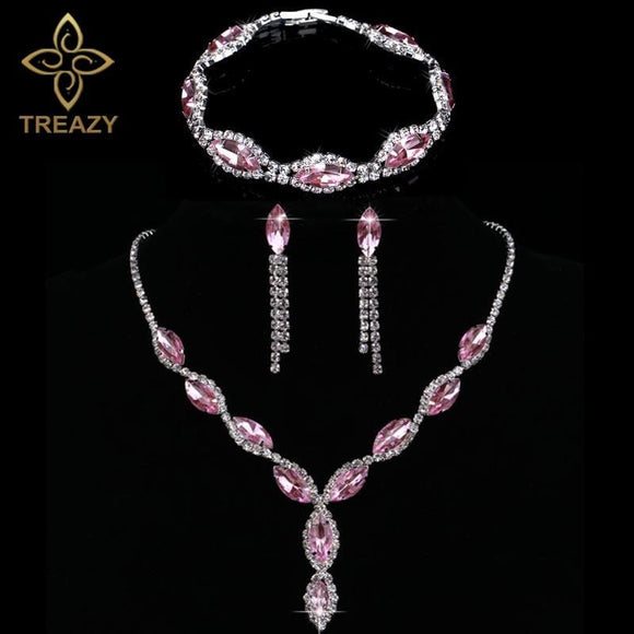 3 Piece Pink Jewellery Set Necklace+Earrings+Bracelet by Pick a Product
