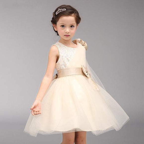 Beautiful Champagne Flower Girl Dress (2-14 Years) - little-darling-fashion-online