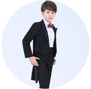 Children blue formal suits boy blazers set teenagers Tuxedo trendy winter clothes kids wedding coat outfits piano party costume