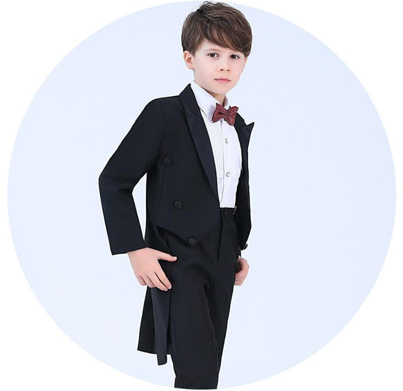 Formal Boys Ring Bearer Black/Red Tuxedos Sets - little-darling-fashion-online